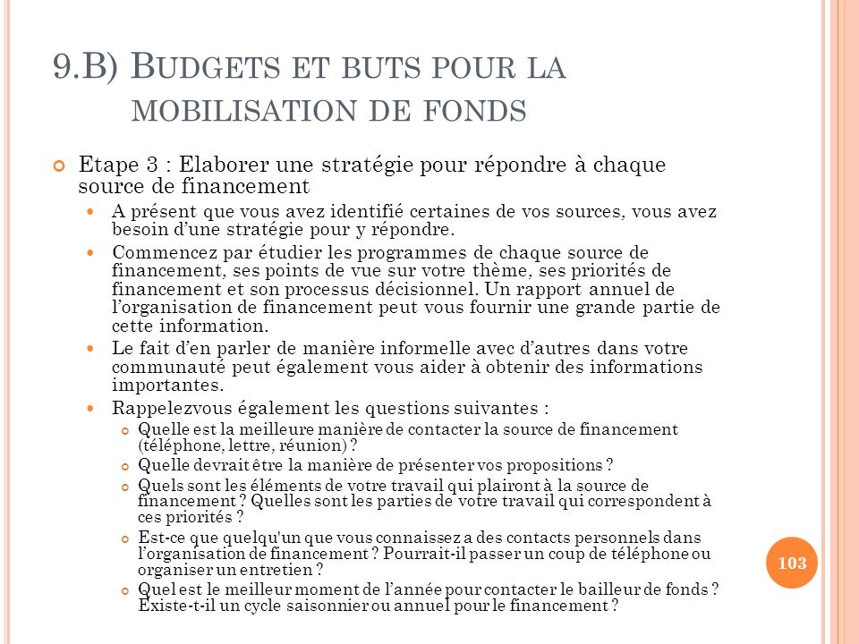 9.B) B UDGETS ET BUTS POUR LA MOBILISATION DE FONDS Etape 3 : Elaborer une stratégie pour répondre à chaque source de financement A présent que vous a