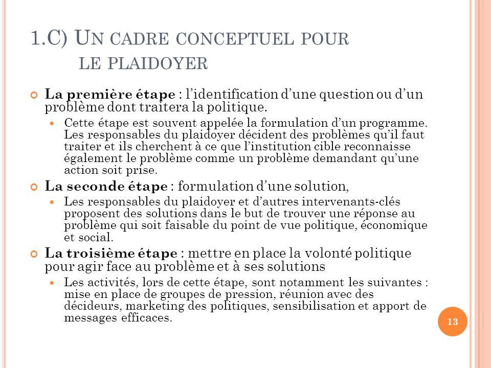 1.C) U N CADRE CONCEPTUEL POUR LE PLAIDOYER La première étape : lidentification dune question ou dun problème dont traitera la politique. Cette étape