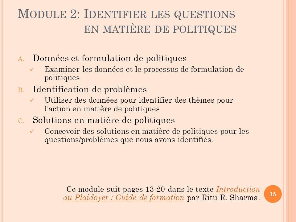 M ODULE 2: I DENTIFIER LES QUESTIONS EN MATIÈRE DE POLITIQUES A. Données et formulation de politiques Examiner les données et le processus de formulat