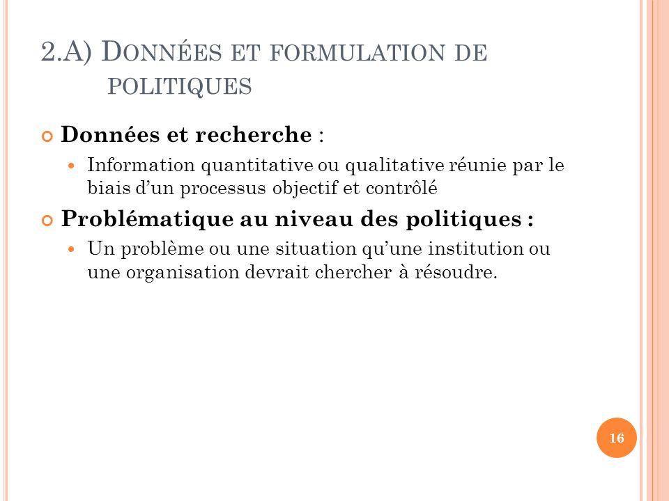 2.A) D ONNÉES ET FORMULATION DE POLITIQUES Données et recherche : Information quantitative ou qualitative réunie par le biais dun processus objectif e