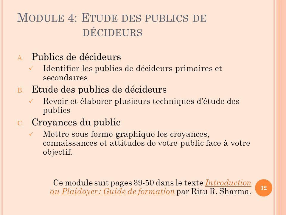 M ODULE 4: E TUDE DES PUBLICS DE DÉCIDEURS A. Publics de décideurs Identifier les publics de décideurs primaires et secondaires B. Etude des publics d