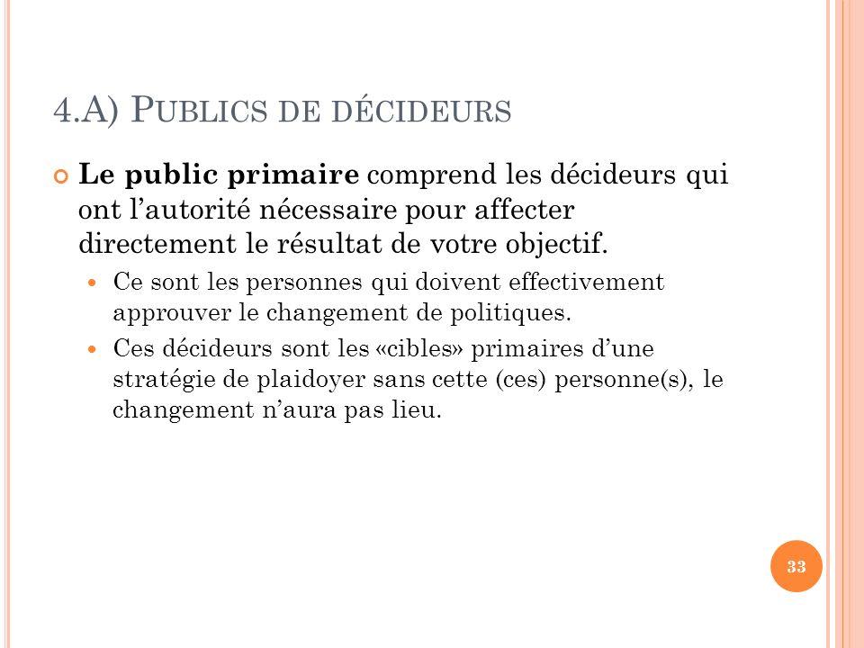 4.A) P UBLICS DE DÉCIDEURS Le public primaire comprend les décideurs qui ont lautorité nécessaire pour affecter directement le résultat de votre objec