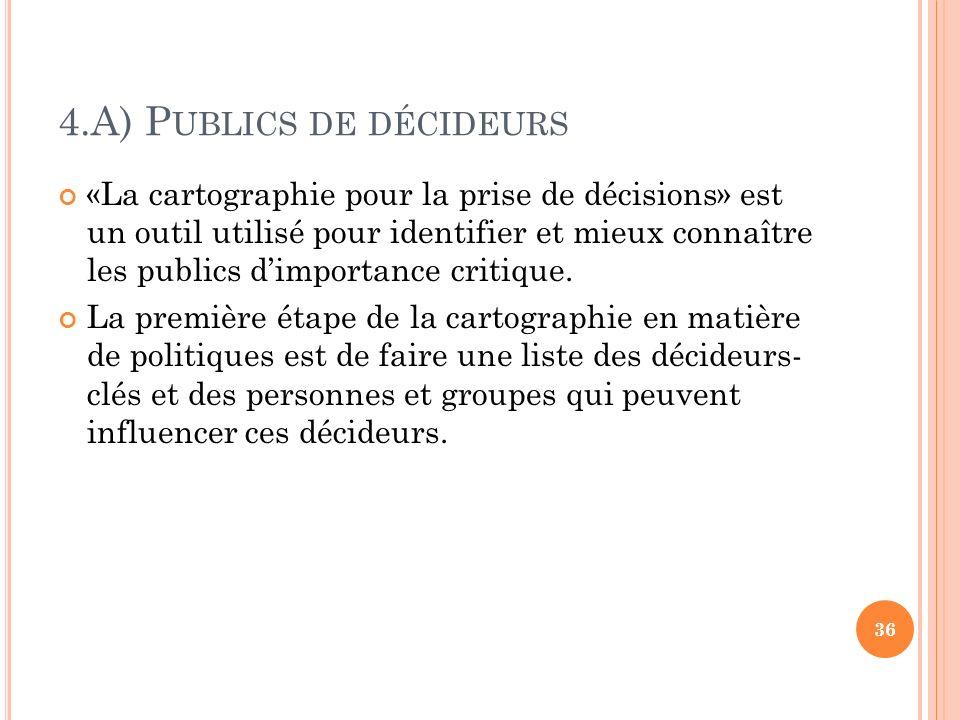 4.A) P UBLICS DE DÉCIDEURS «La cartographie pour la prise de décisions» est un outil utilisé pour identifier et mieux connaître les publics dimportanc