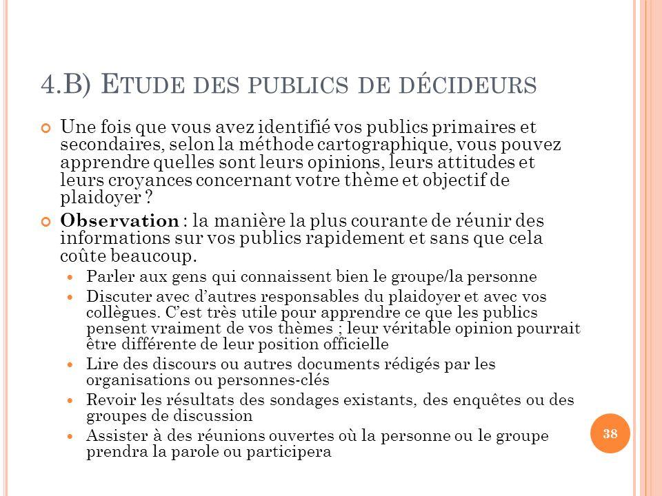 4.B) E TUDE DES PUBLICS DE DÉCIDEURS Une fois que vous avez identifié vos publics primaires et secondaires, selon la méthode cartographique, vous pouv
