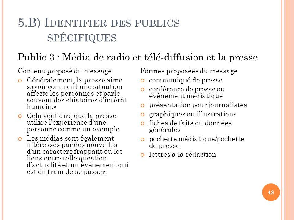 5.B) I DENTIFIER DES PUBLICS SPÉCIFIQUES 48 Contenu proposé du message Généralement, la presse aime savoir comment une situation affecte les personnes