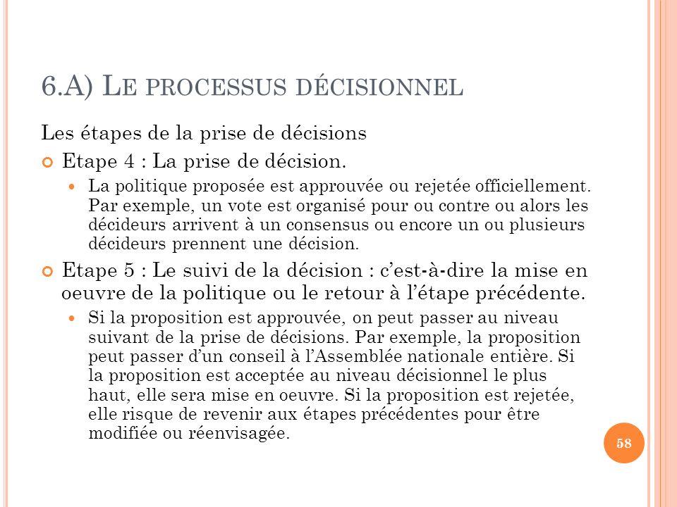 6.A) L E PROCESSUS DÉCISIONNEL Les étapes de la prise de décisions Etape 4 : La prise de décision. La politique proposée est approuvée ou rejetée offi