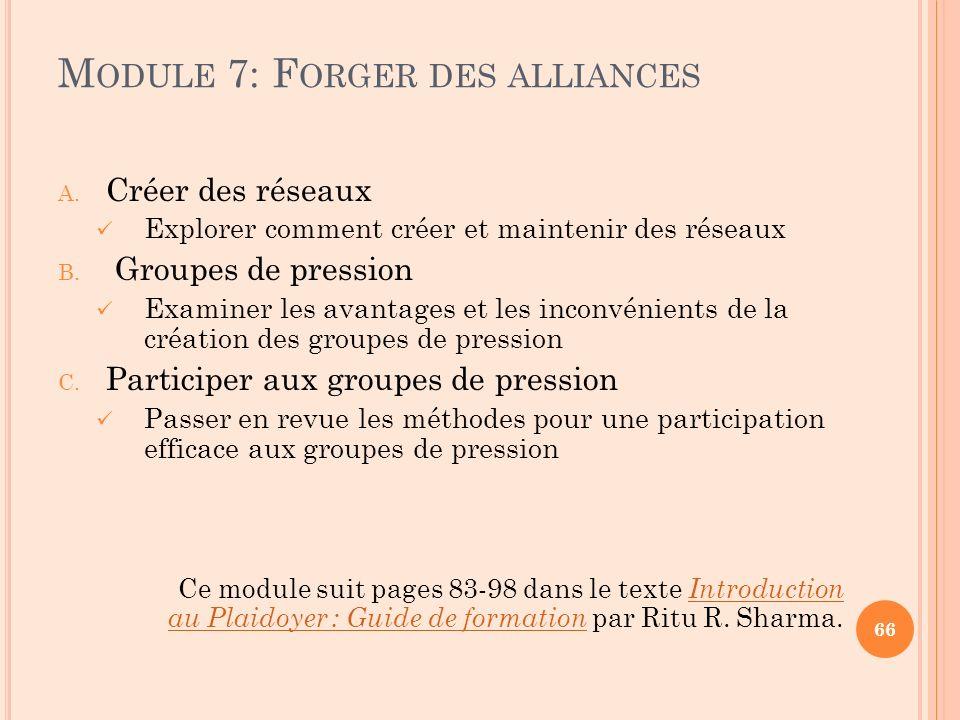 M ODULE 7: F ORGER DES ALLIANCES A. Créer des réseaux Explorer comment créer et maintenir des réseaux B. Groupes de pression Examiner les avantages et