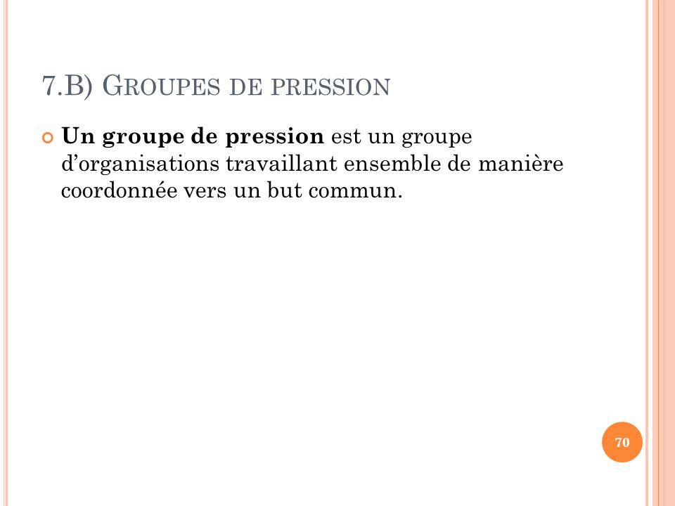 7.B) G ROUPES DE PRESSION Un groupe de pression est un groupe dorganisations travaillant ensemble de manière coordonnée vers un but commun. 70