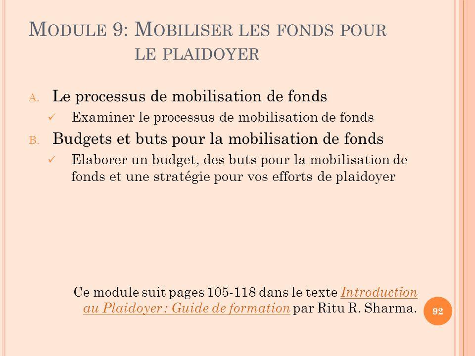M ODULE 9: M OBILISER LES FONDS POUR LE PLAIDOYER A. Le processus de mobilisation de fonds Examiner le processus de mobilisation de fonds B. Budgets e