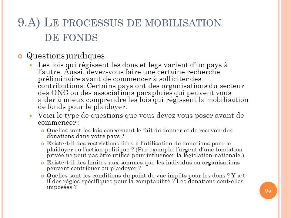 9.A) L E PROCESSUS DE MOBILISATION DE FONDS Questions juridiques Les lois qui régissent les dons et legs varient dun pays à lautre. Aussi, devez-vous