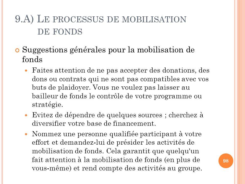 9.A) L E PROCESSUS DE MOBILISATION DE FONDS Suggestions générales pour la mobilisation de fonds Faites attention de ne pas accepter des donations, des