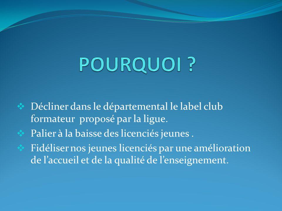 Décliner dans le départemental le label club formateur proposé par la ligue. Palier à la baisse des licenciés jeunes. Fidéliser nos jeunes licenciés p