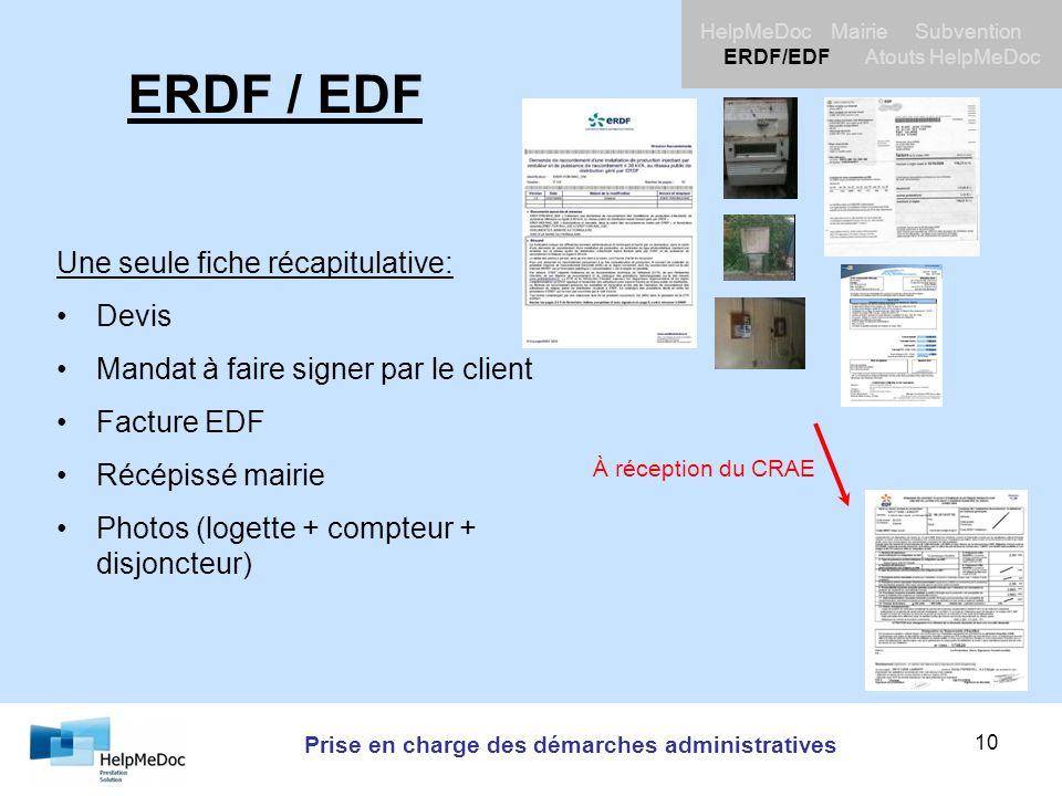 Prise en charge des démarches administratives HelpMeDoc Mairie Subvention ERDF/EDF Atouts HelpMeDoc 10 ERDF / EDF Une seule fiche récapitulative: Devi