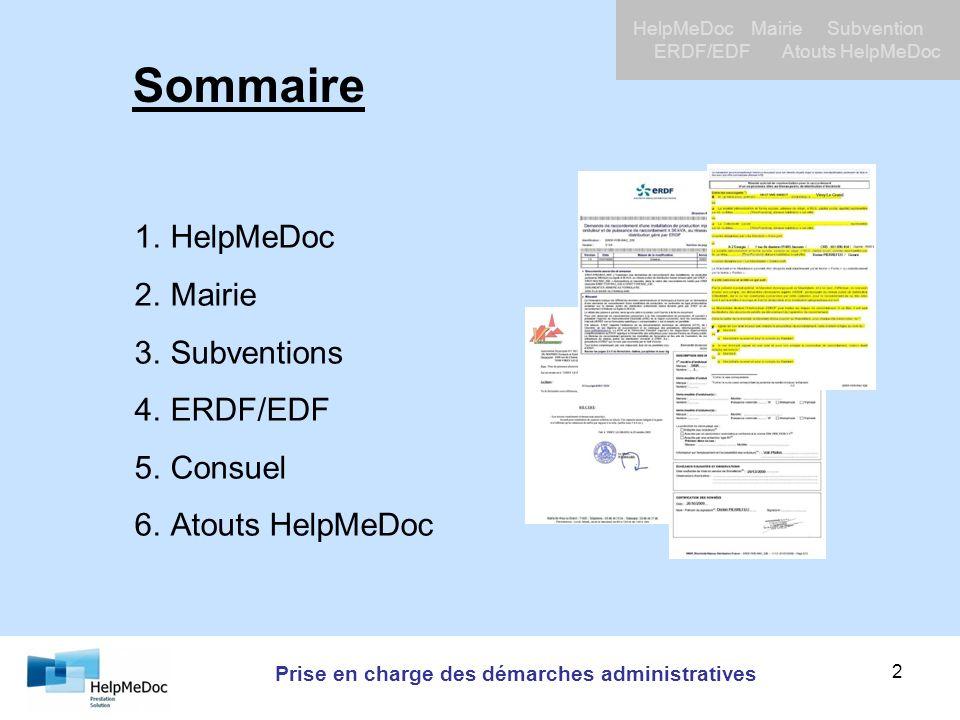 Prise en charge des démarches administratives HelpMeDoc Mairie Subvention ERDF/EDF Atouts HelpMeDoc 2 1.HelpMeDoc 2.Mairie 3.Subventions 4.ERDF/EDF 5.