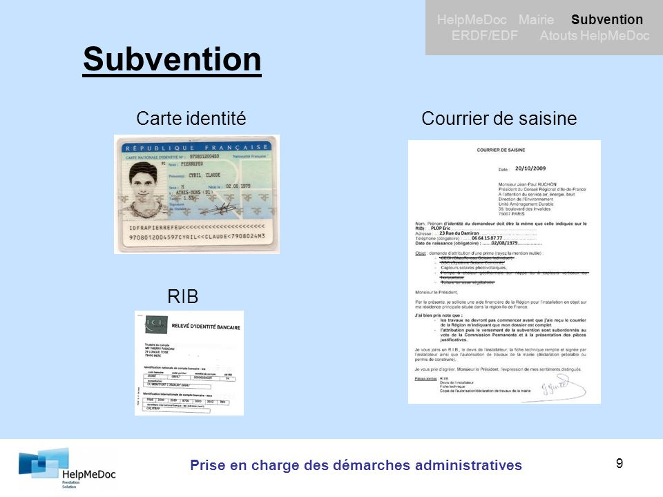 Prise en charge des démarches administratives HelpMeDoc Mairie Subvention ERDF/EDF Atouts HelpMeDoc 9 Subvention Carte identitéCourrier de saisine RIB