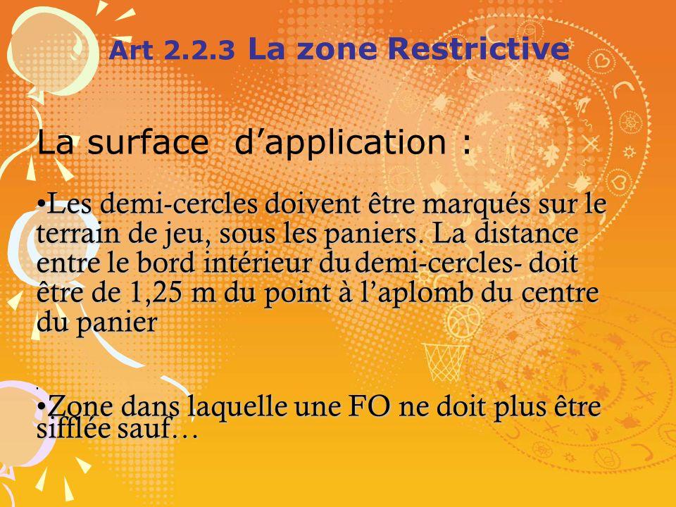 Art 2.2.3 La zone Restrictive La surface dapplication : Lesdemi-cerclesdoiventêtremarquéssurle terraindejeu,souslespaniers.Ladistance entrelebordintér