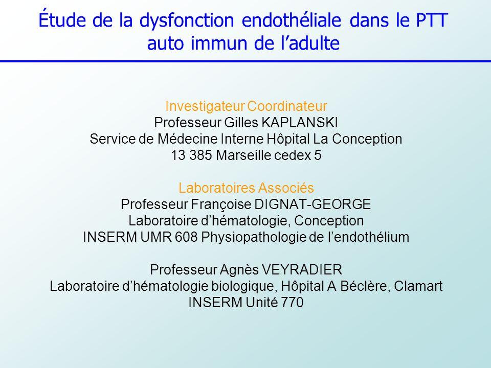 10 Centres Investigateurs Marseille : Dr Poullin, Lefèvre, Kaplanski, Durand, Schleinitz n°1 Toulouse : Néphrologie (Pr Pourrat), Rangueil n°2 Nice : Médecine Interne, Pr Fuzibet, Dr Rosenthal, lArchet n°3 Amiens ; Néphrologie (Pr Choukroun) n°6 Caen : Réanimation Médicale, (Dr Ramakers) n°7 Limoges : Hématologie (Pr Bordessoule) n°10 Paris Necker : Néphrologie B (Dr Fakhouri, Audat) n°4 Saint Antoine : Hématologie (Dr Coppo) n°5 Cochin : Médecine Transfusionnelle (Dr Heshmati, Le Guern) n°8 Pitié : Hémothérapie (Dr Saheb, Attassi) n°9