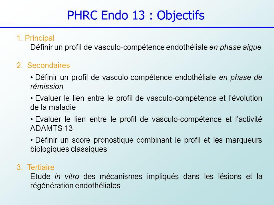 PHRC Endo 13 : Objectifs 1. Principal Définir un profil de vasculo-compétence endothéliale en phase aiguë 2. Secondaires Définir un profil de vasculo-