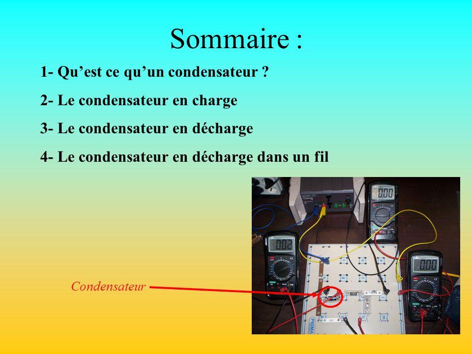 Sommaire : 1- Quest ce quun condensateur ? 2- Le condensateur en charge 3- Le condensateur en décharge 4- Le condensateur en décharge dans un fil Cond