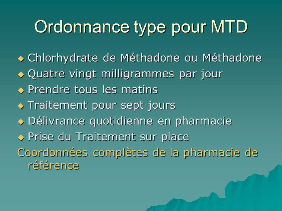 Ordonnance type pour MTD Chlorhydrate de Méthadone ou Méthadone Chlorhydrate de Méthadone ou Méthadone Quatre vingt milligrammes par jour Quatre vingt milligrammes par jour Prendre tous les matins Prendre tous les matins Traitement pour sept jours Traitement pour sept jours Délivrance quotidienne en pharmacie Délivrance quotidienne en pharmacie Prise du Traitement sur place Prise du Traitement sur place Coordonnées complètes de la pharmacie de référence