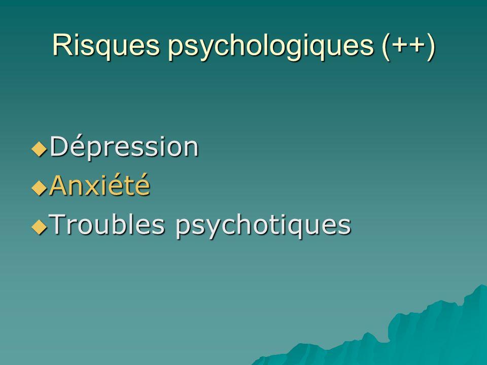 Risques psychologiques (++) Dépression Dépression Anxiété Anxiété Troubles psychotiques Troubles psychotiques
