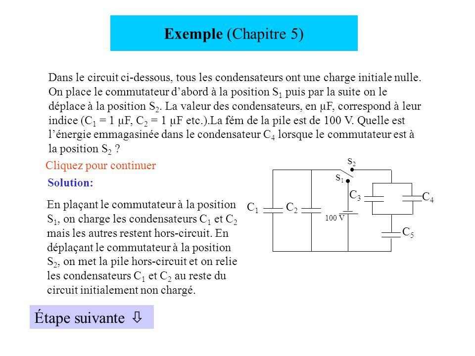 Exemple (Chapitre 5) Dans le circuit ci-dessous, tous les condensateurs ont une charge initiale nulle. On place le commutateur dabord à la position S