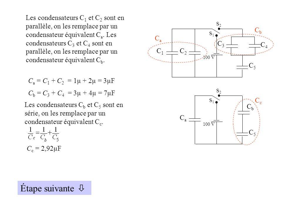 C4C4 C1C1 C2C2 C3C3 C5C5 100 V S2S2 S1S1 CaCa CbCb Les condensateurs C 1 et C 2 sont en parallèle, on les remplace par un condensateur équivalent C a.