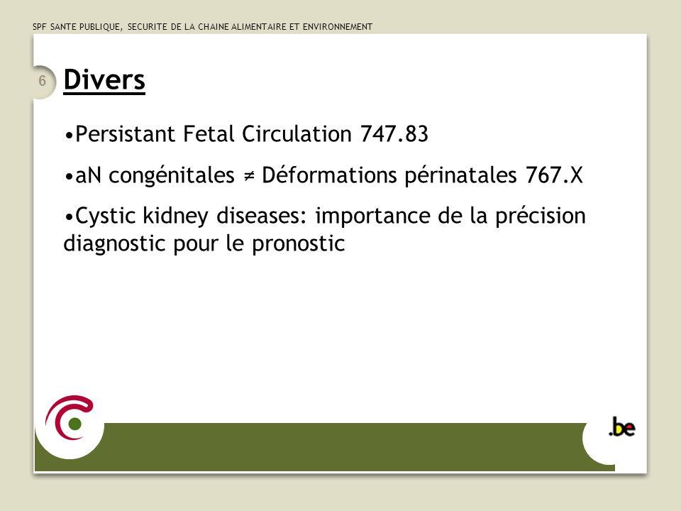 SPF SANTE PUBLIQUE, SECURITE DE LA CHAINE ALIMENTAIRE ET ENVIRONNEMENT 6 Divers Persistant Fetal Circulation 747.83 aN congénitales Déformations périn