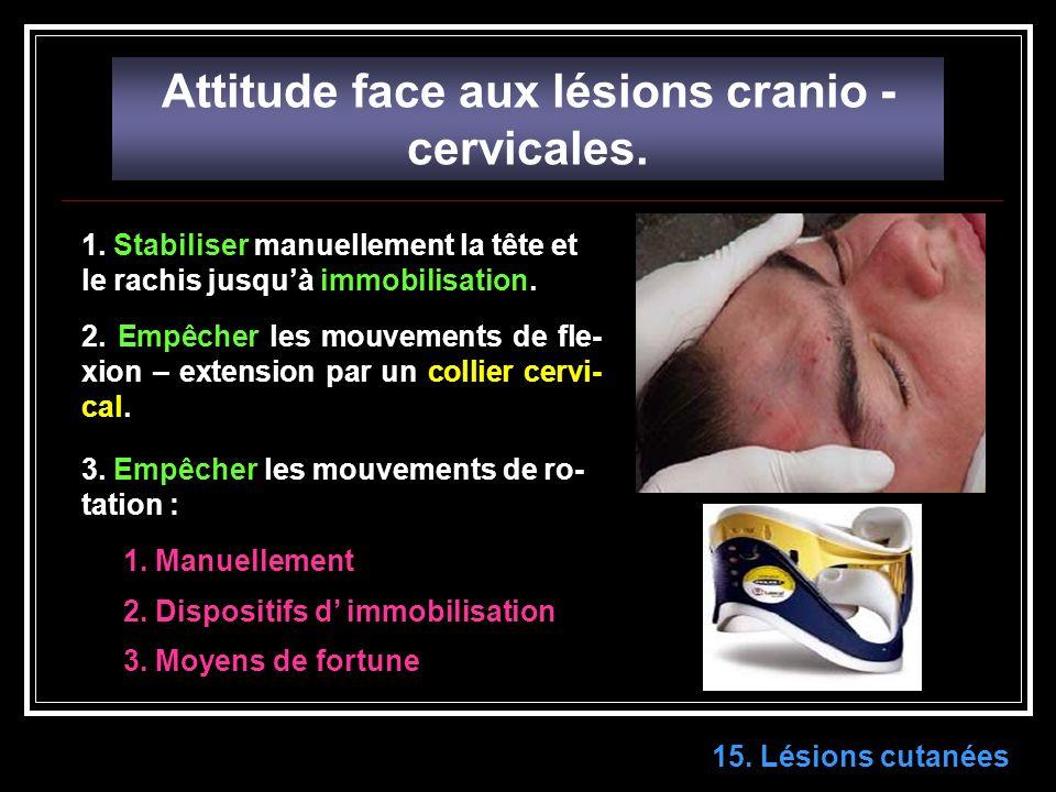 15.Lésions cutanées Attitude face aux lésions cranio - cervicales.
