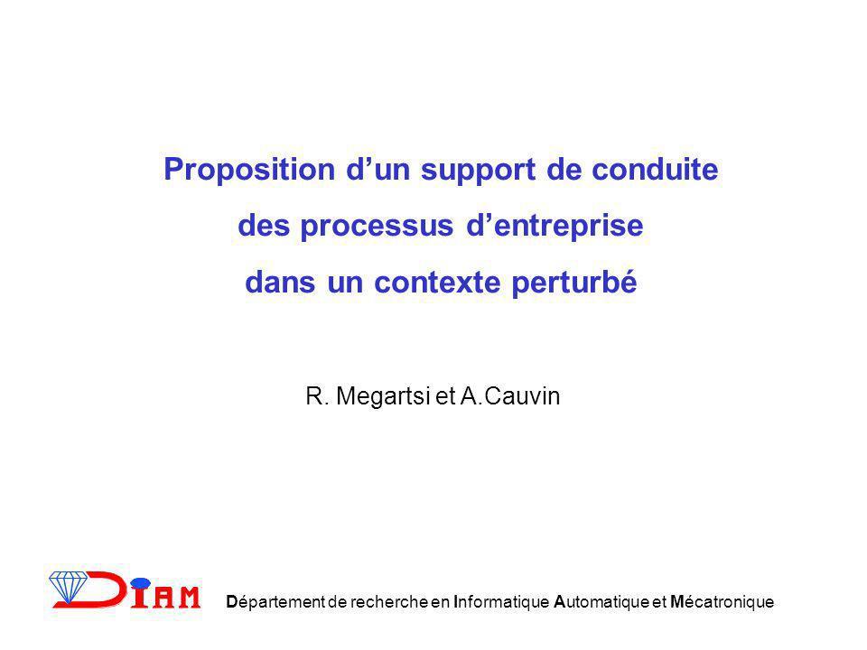 Proposition dun support de conduite des processus dentreprise dans un contexte perturbé R. Megartsi et A.Cauvin Département de recherche en Informatiq