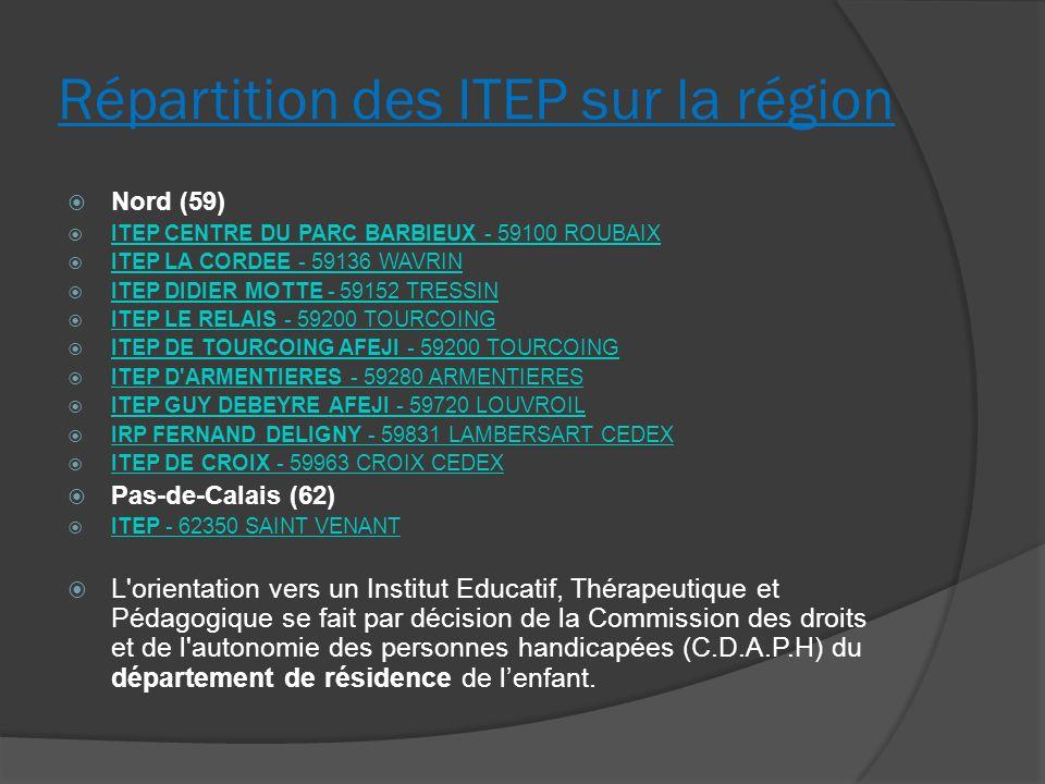 Répartition des ITEP sur la région Nord (59) ITEP CENTRE DU PARC BARBIEUX - 59100 ROUBAIX ITEP CENTRE DU PARC BARBIEUX - 59100 ROUBAIX ITEP LA CORDEE