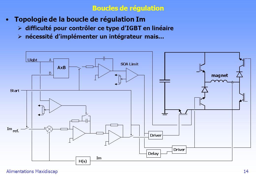 Alimentations Maxidiscap14 Boucles de régulation Topologie de la boucle de régulation Im difficulté pour contrôler ce type dIGBT en linéaire nécessité