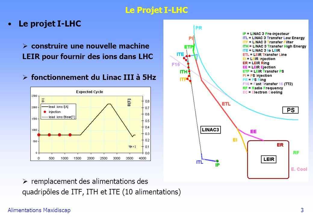 Alimentations Maxidiscap3 Le Projet I-LHC Le projet I-LHC construire une nouvelle machine LEIR pour fournir des ions dans LHC fonctionnement du Linac