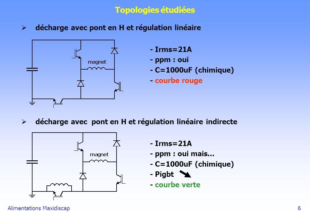 Alimentations Maxidiscap6 Topologies étudiées décharge avec pont en H et régulation linéaire - Irms=21A - ppm : oui - C=1000uF (chimique) - courbe rou