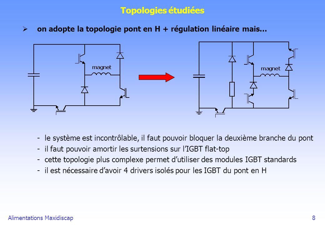 Alimentations Maxidiscap8 Topologies étudiées on adopte la topologie pont en H + régulation linéaire mais... -le système est incontrôlable, il faut po