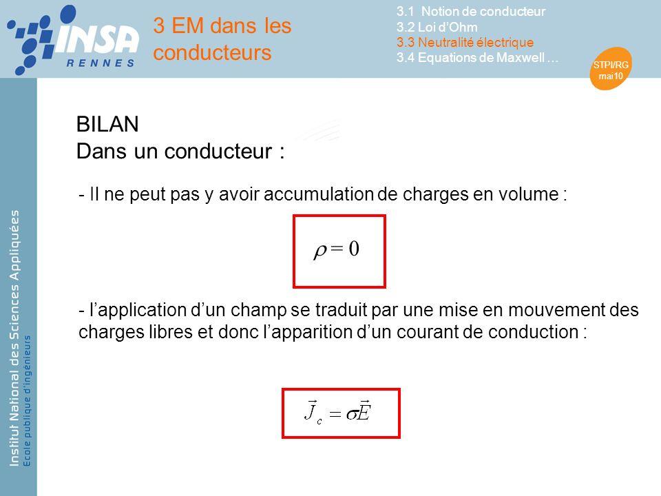 STPI/RG mai10 - lapplication dun champ se traduit par une mise en mouvement des charges libres et donc lapparition dun courant de conduction : BILAN Dans un conducteur : - Il ne peut pas y avoir accumulation de charges en volume : = 0 3 EM dans les conducteurs 3.1 Notion de conducteur 3.2 Loi dOhm 3.3 Neutralité électrique 3.4 Equations de Maxwell …