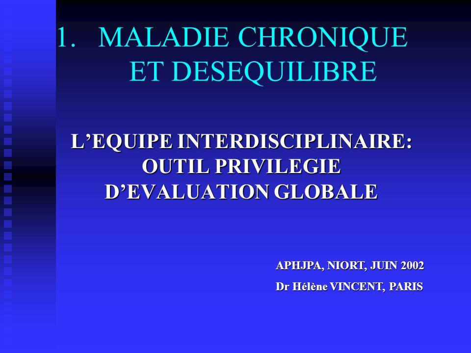 1.MALADIE CHRONIQUE ET DESEQUILIBRE LEQUIPE INTERDISCIPLINAIRE: OUTIL PRIVILEGIE DEVALUATION GLOBALE APHJPA, NIORT, JUIN 2002 Dr Hélène VINCENT, PARIS