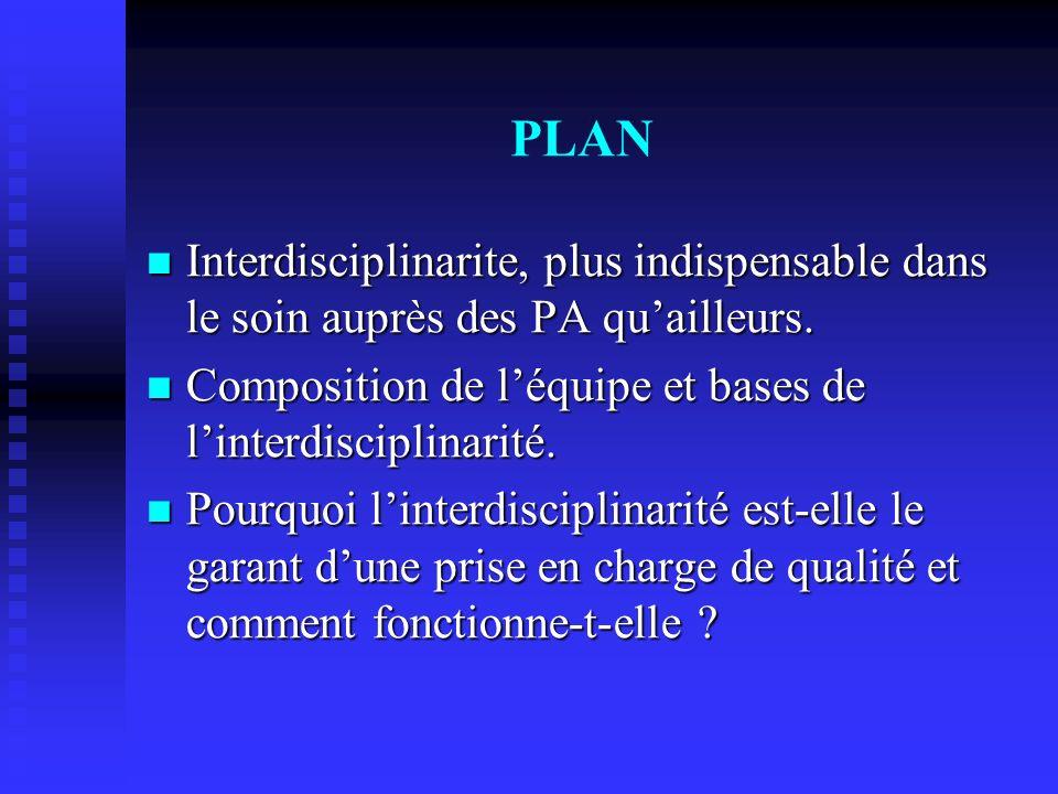 PLAN Interdisciplinarite, plus indispensable dans le soin auprès des PA quailleurs.