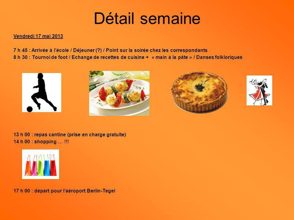 Vendredi 17 mai 2013 7 h 45 : Arrivée à lécole / Déjeuner ( ) / Point sur la soirée chez les correspondants 8 h 30 : Tournoi de foot / Echange de recettes de cuisine + « main à la pâte » / Danses folkloriques 13 h 00 : repas cantine (prise en charge gratuite) 14 h 00 : shopping … !!.