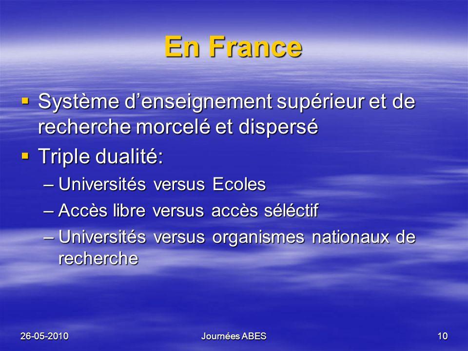 26-05-2010Journées ABES10 En France Système denseignement supérieur et de recherche morcelé et dispersé Système denseignement supérieur et de recherch