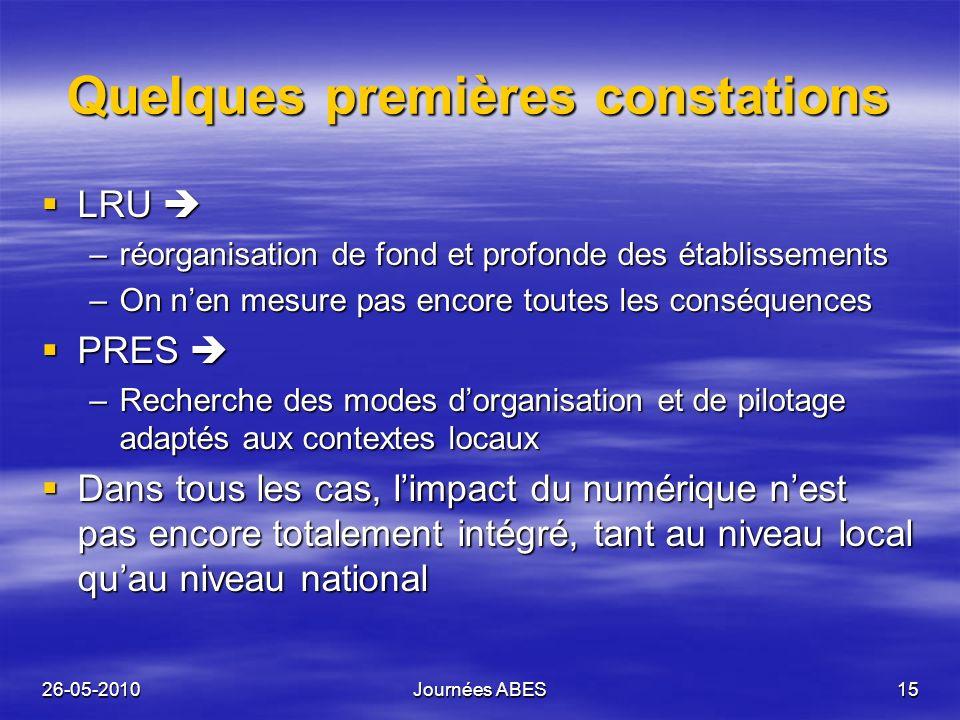 26-05-2010Journées ABES15 Quelques premières constations LRU LRU –réorganisation de fond et profonde des établissements –On nen mesure pas encore tout