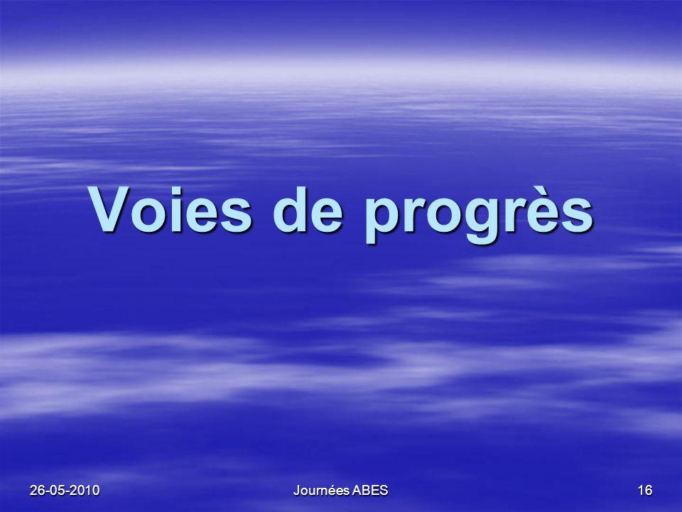 26-05-2010Journées ABES16 Voies de progrès