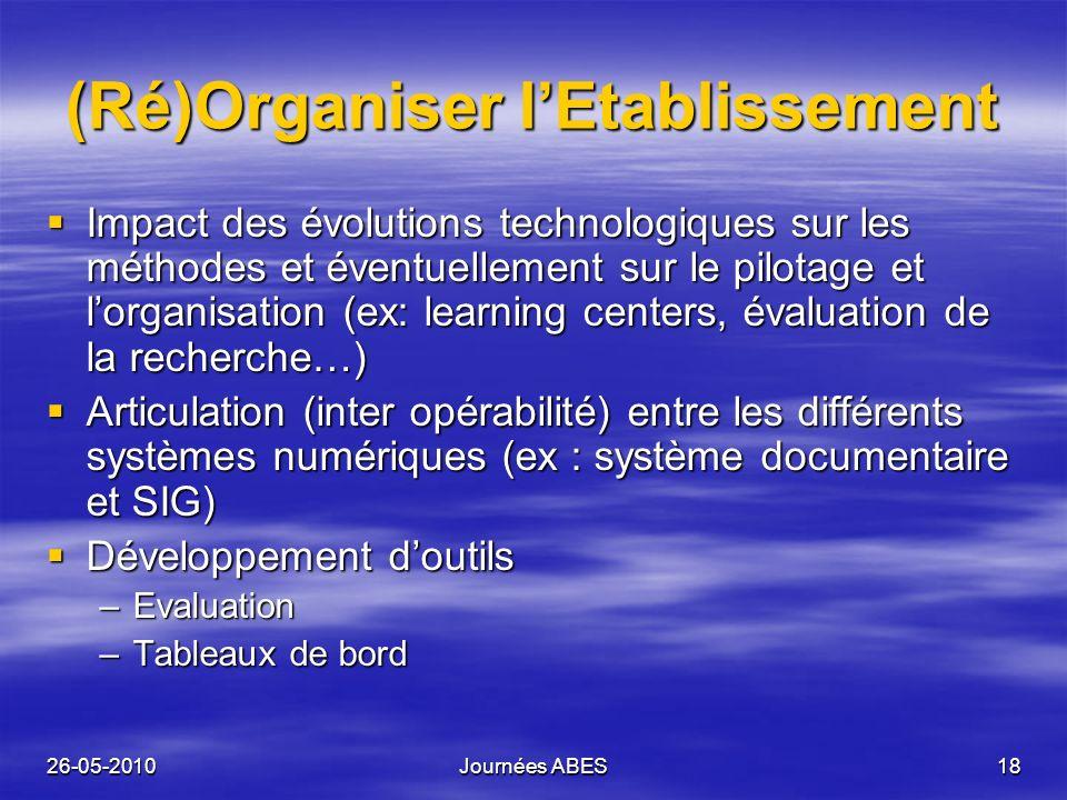 26-05-2010Journées ABES18 (Ré)Organiser lEtablissement Impact des évolutions technologiques sur les méthodes et éventuellement sur le pilotage et lorg