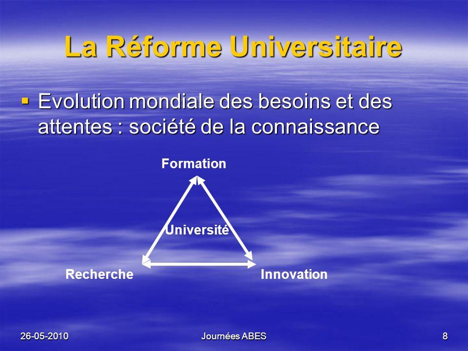 26-05-2010Journées ABES8 La Réforme Universitaire Evolution mondiale des besoins et des attentes : société de la connaissance Evolution mondiale des b