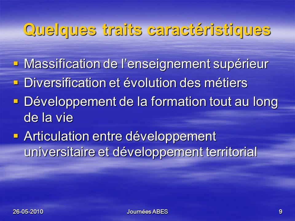 26-05-2010Journées ABES9 Quelques traits caractéristiques Massification de lenseignement supérieur Massification de lenseignement supérieur Diversific