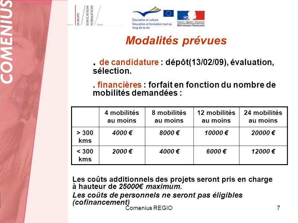 Comenius REGIO7 Modalités prévues. de candidature : dépôt(13/02/09), évaluation, sélection.. financières : forfait en fonction du nombre de mobilités