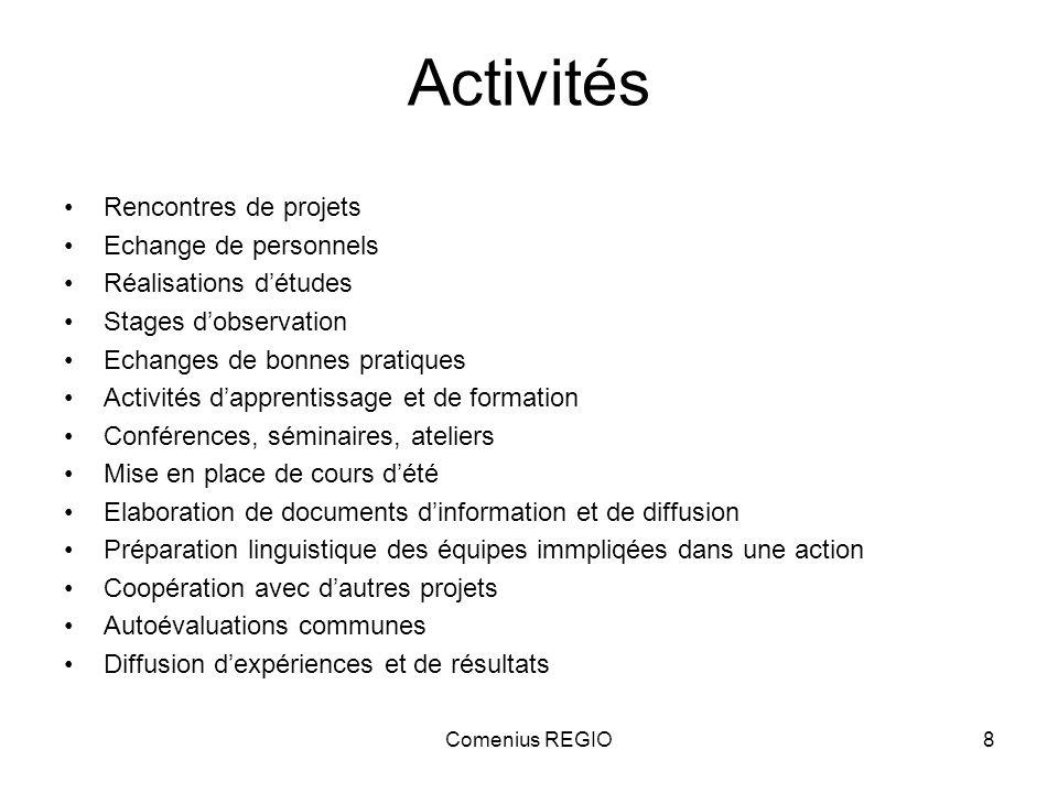 Comenius REGIO8 Activités Rencontres de projets Echange de personnels Réalisations détudes Stages dobservation Echanges de bonnes pratiques Activités
