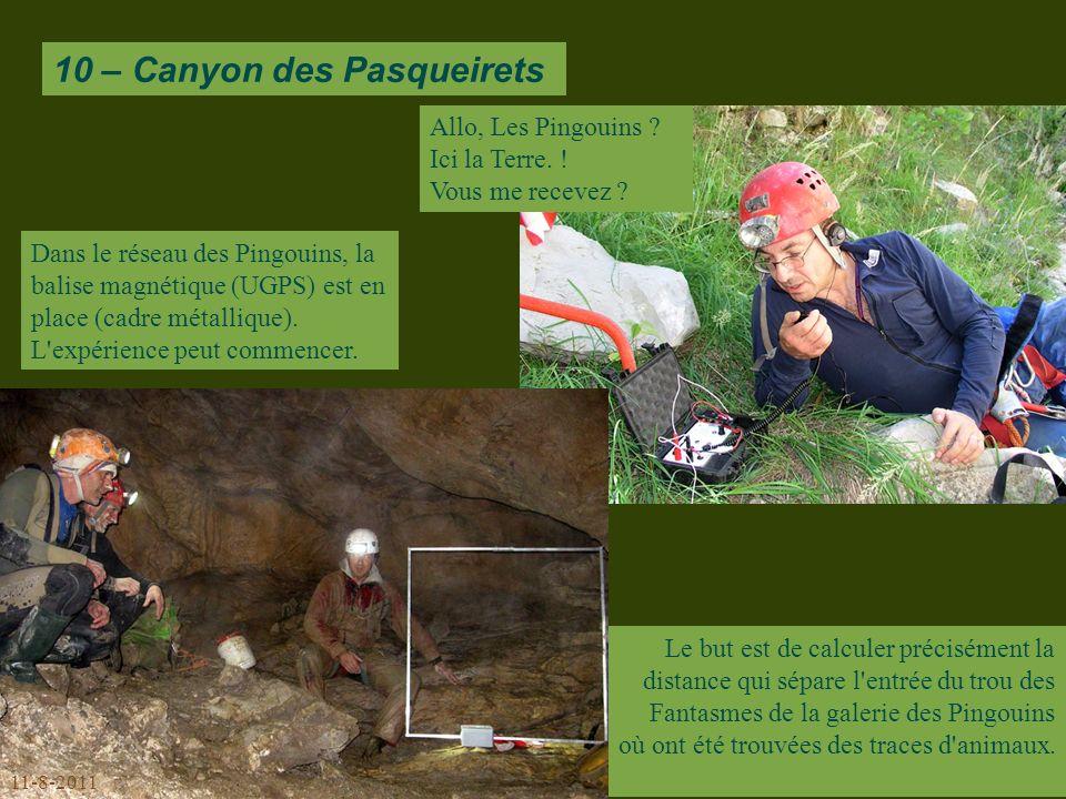 10 – Canyon des Pasqueirets Dans le réseau des Pingouins, la balise magnétique (UGPS) est en place (cadre métallique).