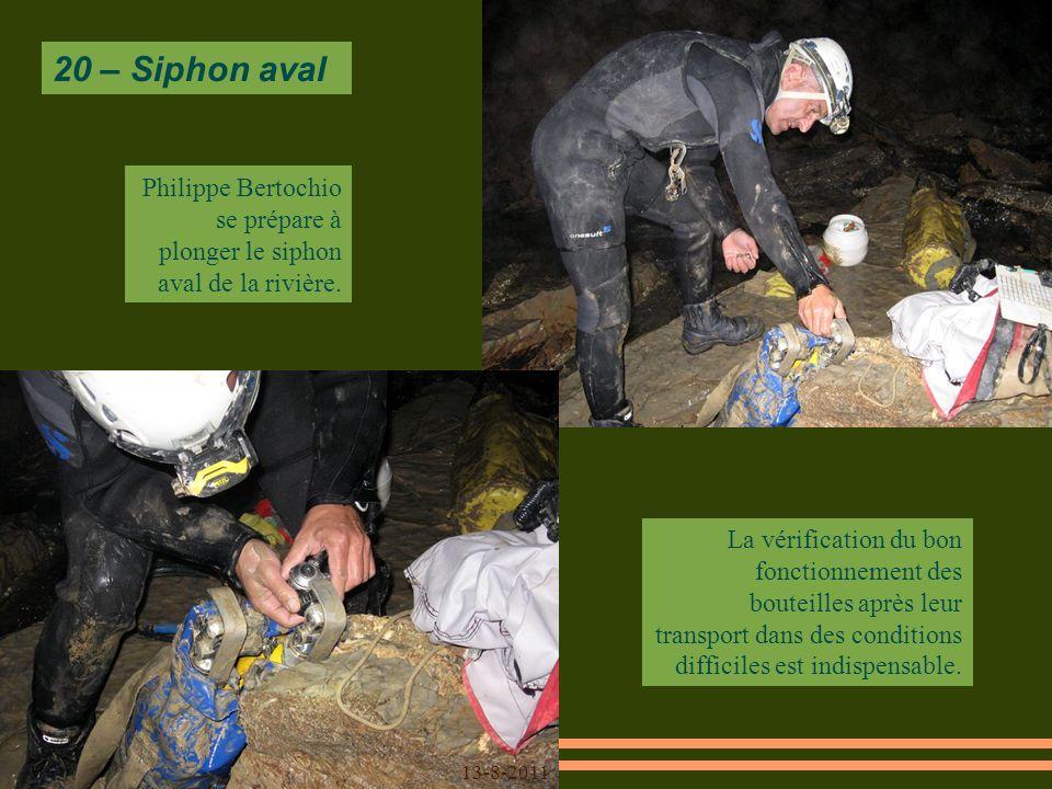 20 – Siphon aval La vérification du bon fonctionnement des bouteilles après leur transport dans des conditions difficiles est indispensable.