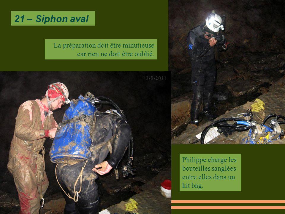 21 – Siphon aval 13-8-2011 Philippe charge les bouteilles sanglées entre elles dans un kit bag.